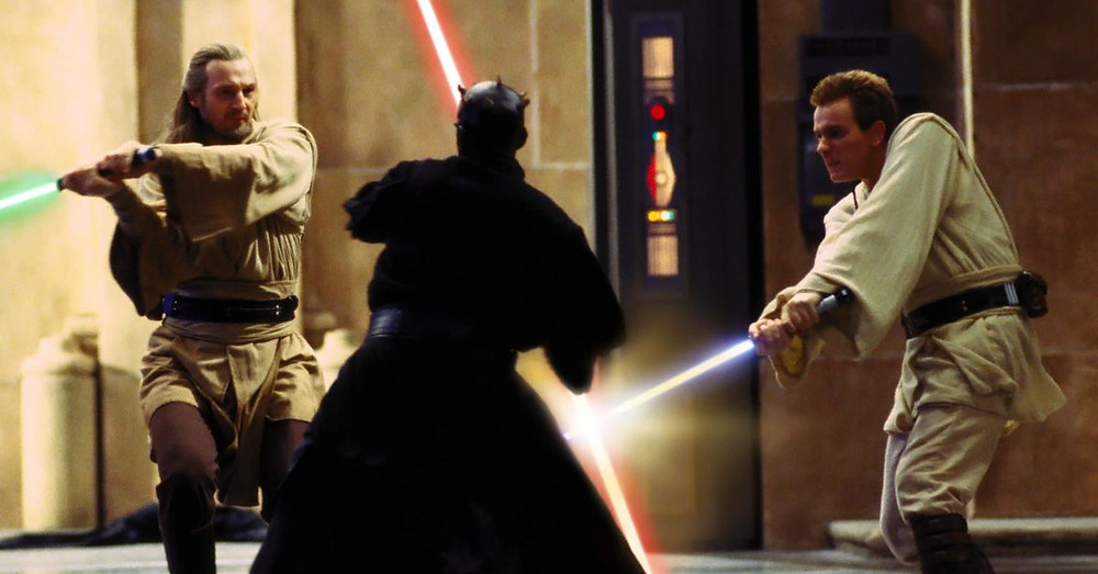Jedis dueling with lightsabers