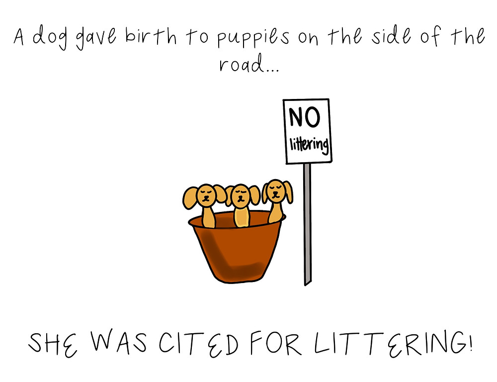 "A drawing of puppies and a ""no littering"" sign with caption: ""A dog gave birth to puppies on the side of the road...She was cited for littering!"""