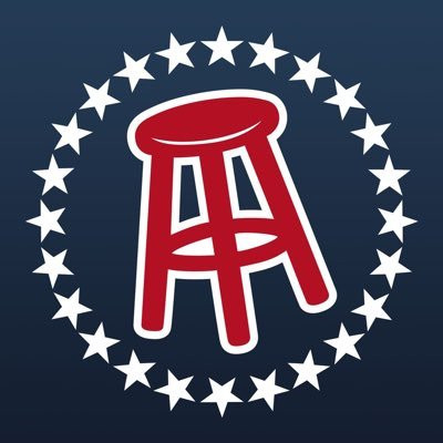 The barstool sports logo, a red stool in the middle of a circle of white stars