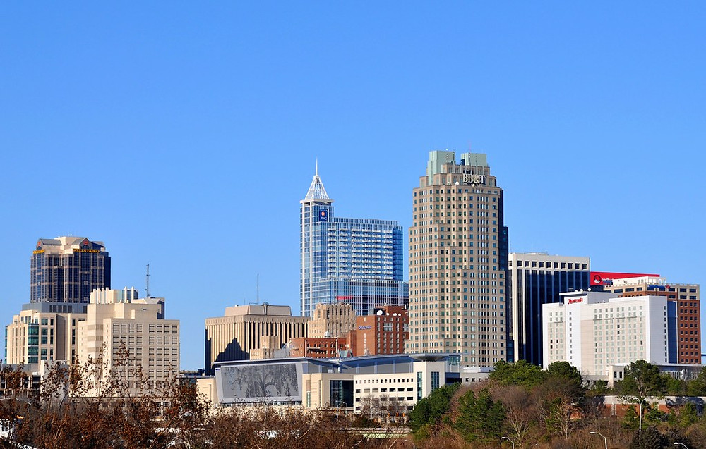 The Raleigh skyline on a sunny day
