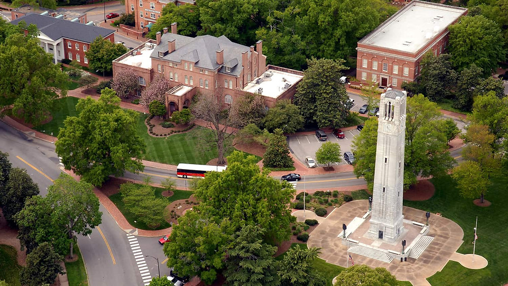NC State University Bell Tower and Campus