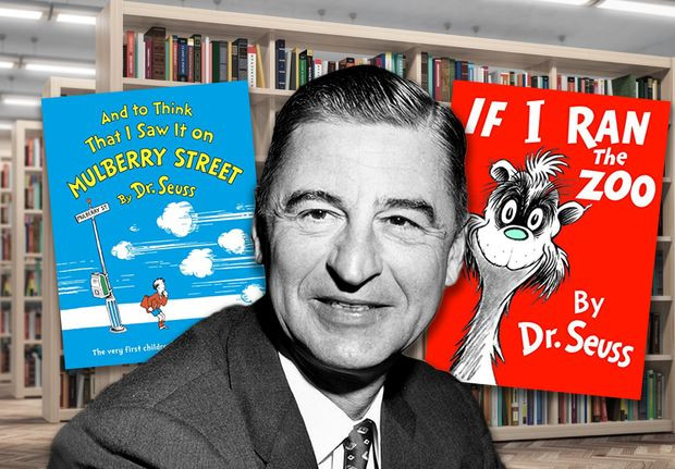 A black and white photo of Dr. Seuss in front of two of his pulled books