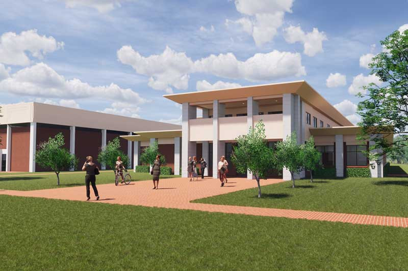A rendering of the new Communication and Exercise and Sports Science building at Meredith College