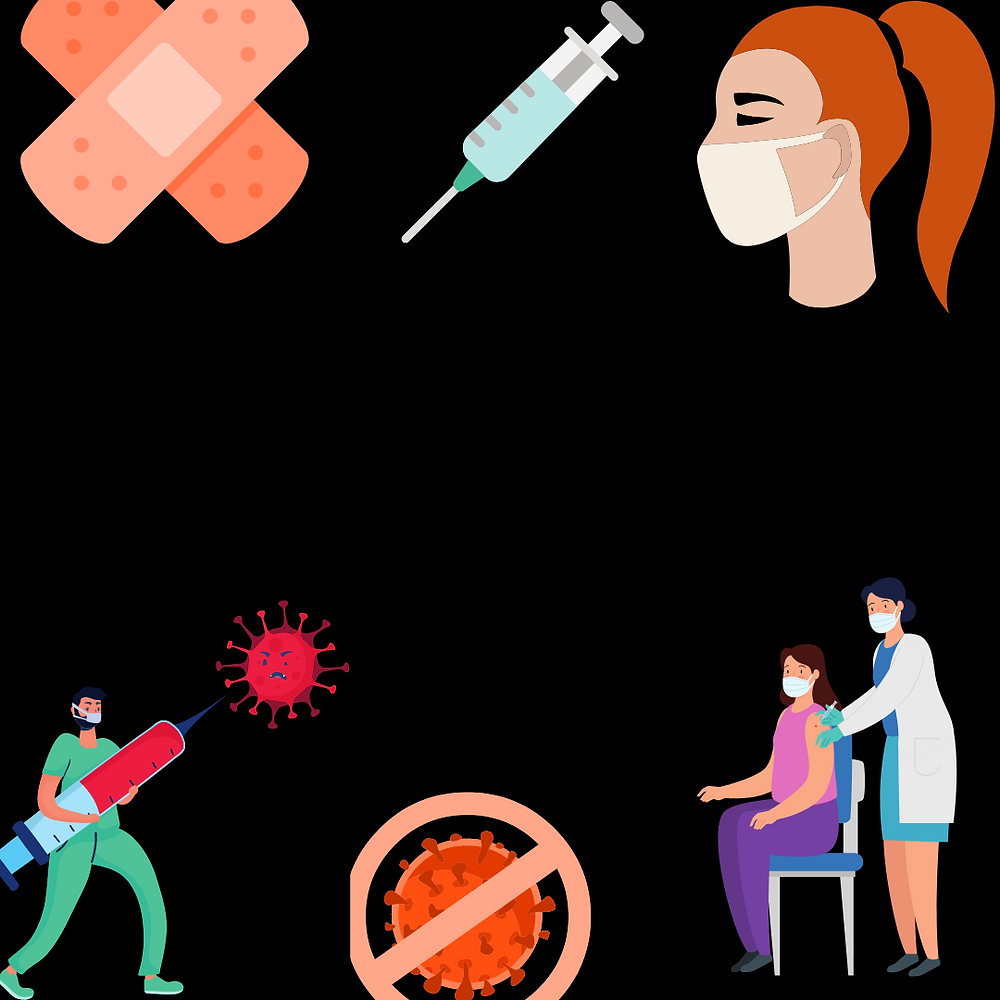 """A collage of images relating to vaccination: a bandage, needle, person wearing a mask, and a COVID particle with a """"no"""" symbol around it"""