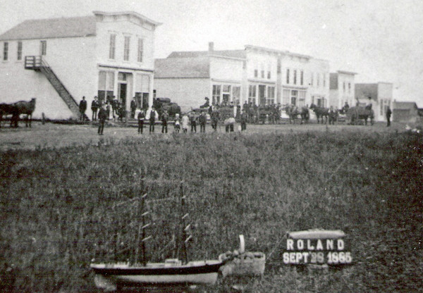 Early picture of the West side of Main Street taken 1885