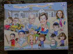 Family caricatures and drawings.
