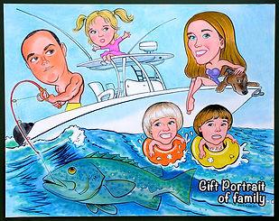 Gift portrait of family fishing.