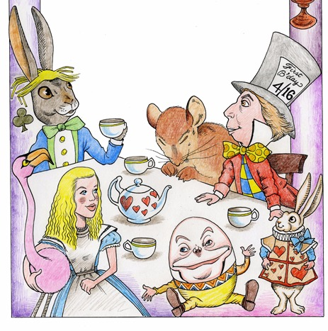 Mad hatter teaparty artwork for kids