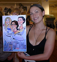Women at corporate event with customized caricature.