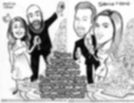 Pen & ink caricatures of wedding guests
