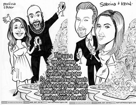 Pen & ink caricatures of wedding guests