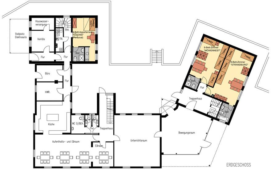 Grundriss Erdgeschoss Inselhaus Langeoog