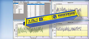 DL-1 Data logger with spreadsheets and graphs in background