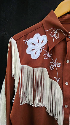 Brown with Ivory Fringe Tencel Western Shirt