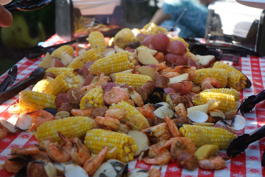 DelMarVa Signature Seafood Boil poured out on table