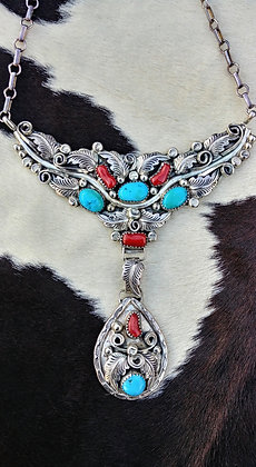 Turquoise and Coral Navajo Necklace