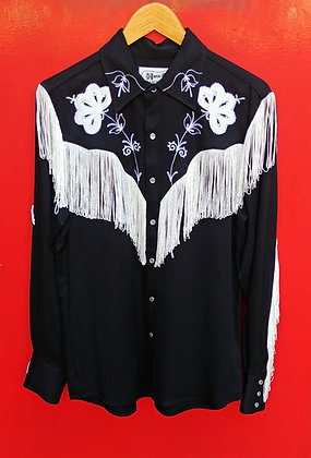 Black with White Fringe Classic H Bar C Western Shirt