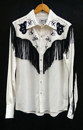 Ivory with Black Fringe Classic H Bar C Western Shirt