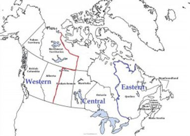 Canada Map dividing western, central and eastern territory