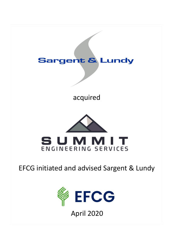 EFCG initiated and advised Sargent & Lundy on the acquisition of Summit Engineering Services