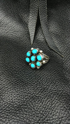 7 Stone Turquoise Cluster Ring