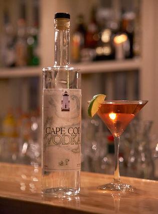 cape cod vodka bottle next to vodka martini