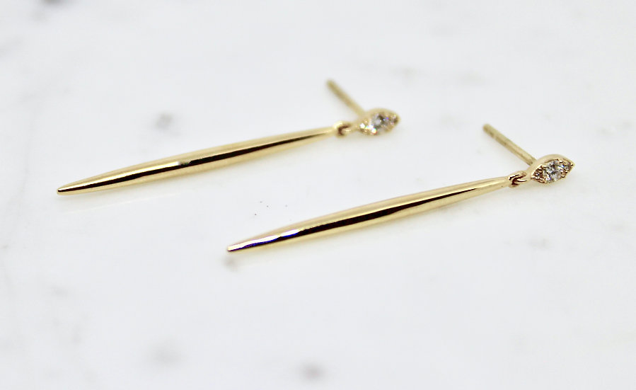 Diamond and yellow gold bar drop earrings, Barrett Ford Jewelry