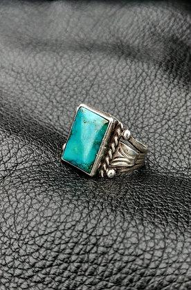 Vintage Rectangular Turquoise Men's Ring