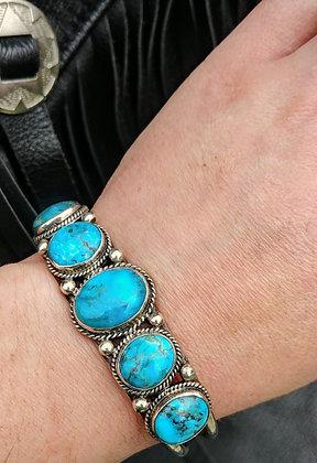 5 Stone Turquoise Cuff Bracelet