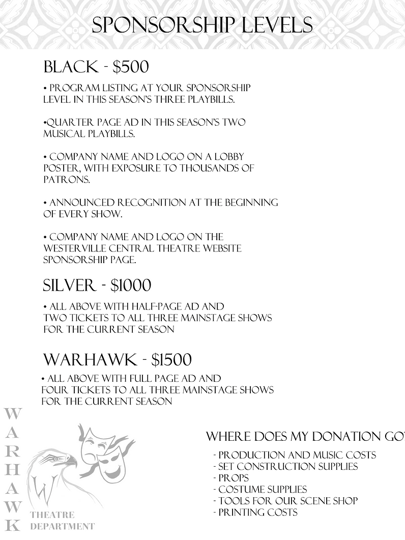 Sponsor page 1 levels of corporate spons