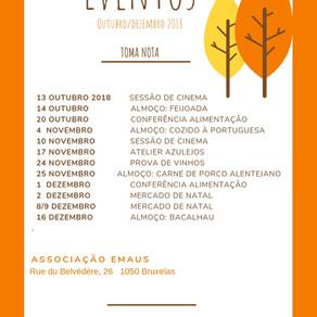 Eventos Outubro/Dezembro 2018 na Associação Portuguesa dos Emaús de Bruxelas