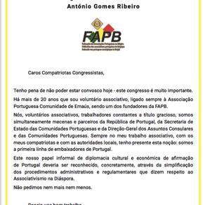 Mensagem do Presidente da FAPB ao Congresso do Porto Redes da Diáspora Portuguesa