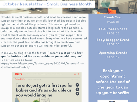 Snuggles n Bubbles October Newsletter