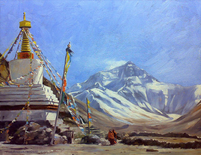 Mt Everest from the Rhombuk Monastery