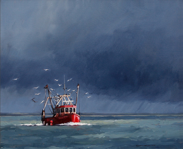 Fishin boat returning home before a Solent storm