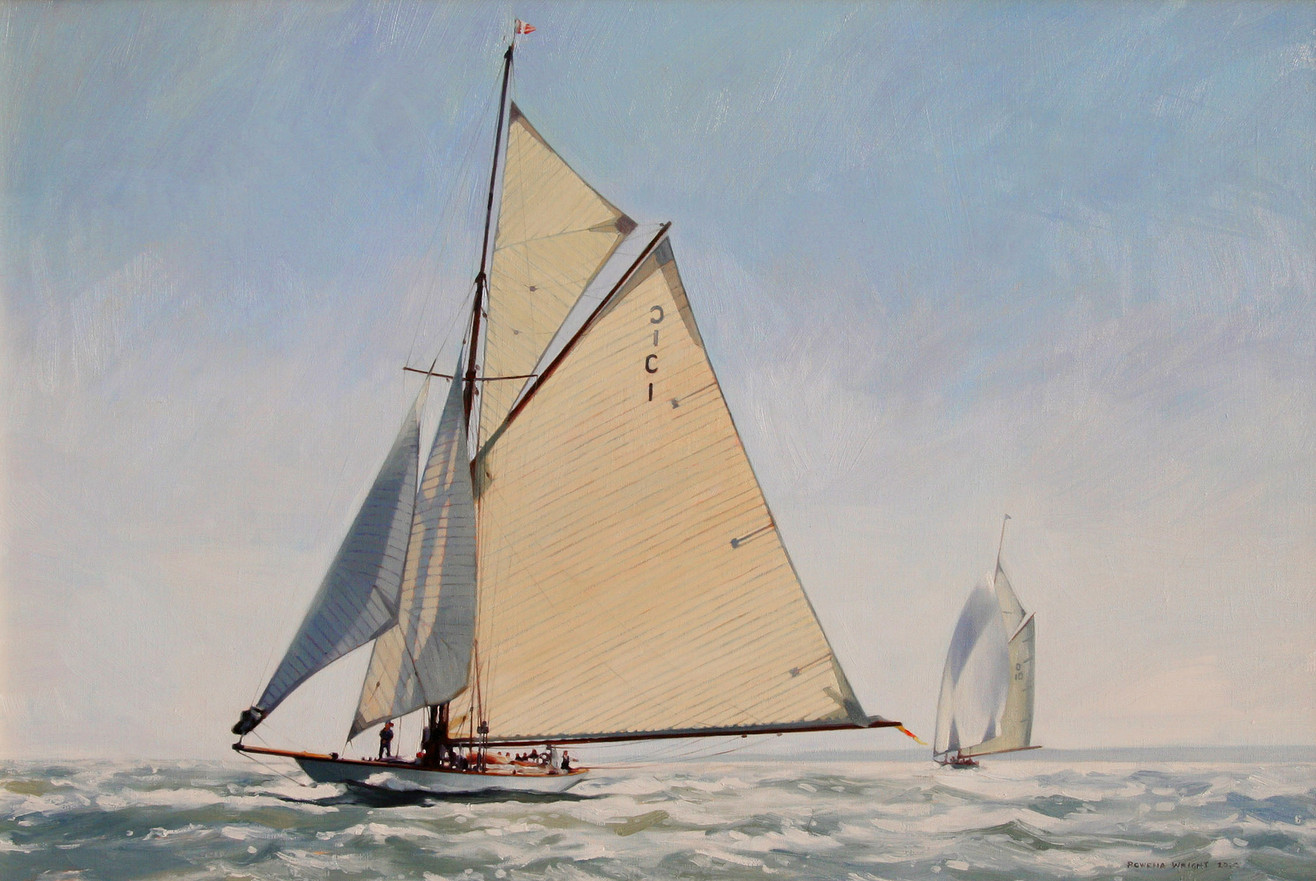 close up of Maraquita and Lady Anne racing in the Solent