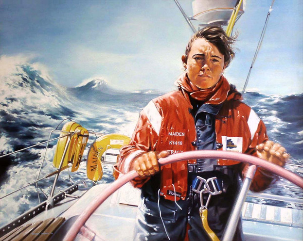 Tracy Edwards MBE sailing Maiden in the Southern Ocean during the Whitbread Round the World Yacht Race in 1989.