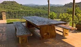 Mesa Comedor Terraza Rústica Madera Maciza Suar