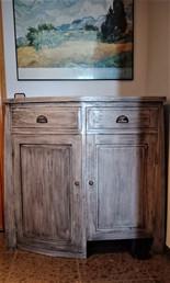 Recibidor con Consola Oriental a medida, de madera de Mindi y color gris envejecido