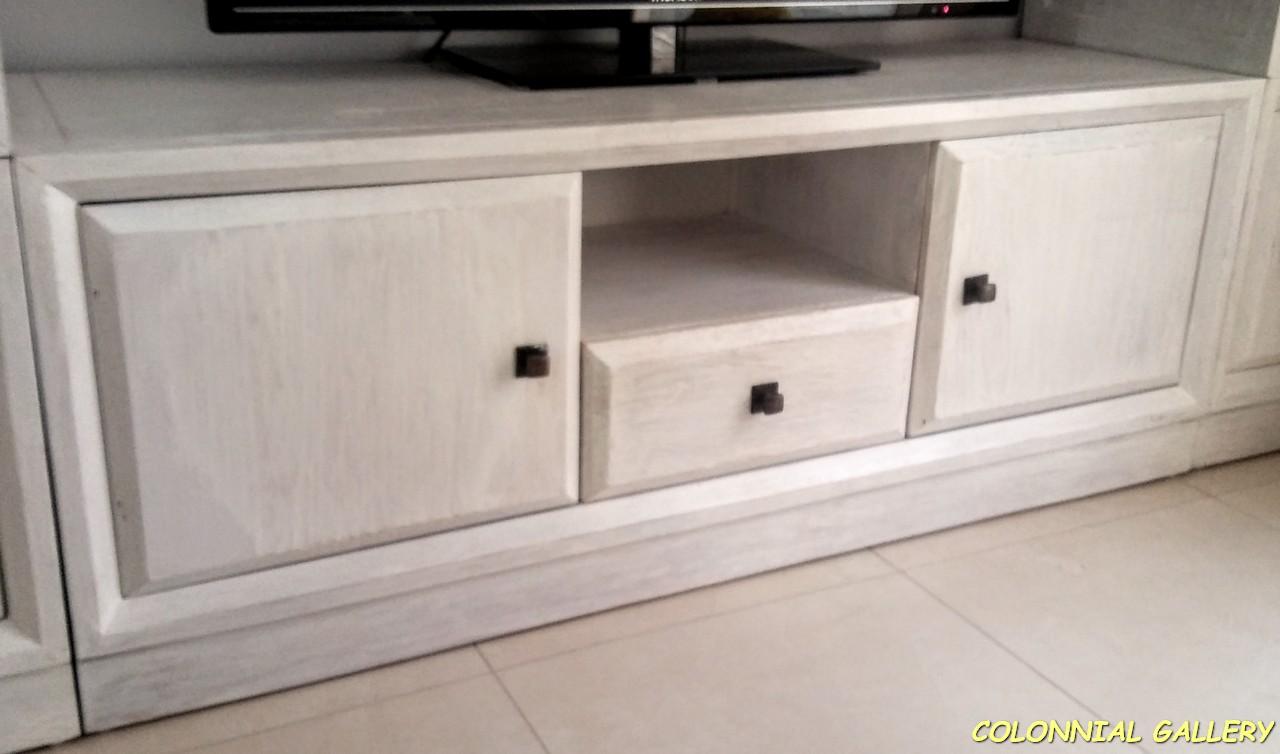 Mueble Televisor Blanco madera Maciza