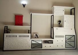Mueble Televisor Colonial Industrial con aparador y escritorio en Blanco Decapado y tallado artesanal