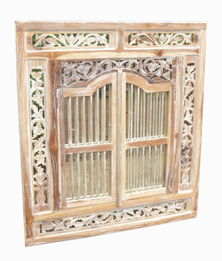 VR-1802-10c Decorativo Espejo  Ventana Balinesa Blaq