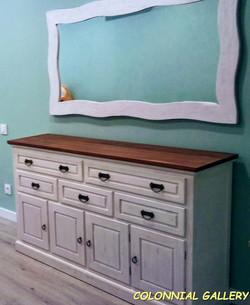 Conjunto Aparador Espejo Rustic pintado Blanco