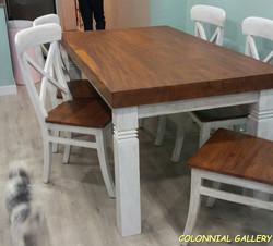 Mesa Comedor Colonial Maciza bicolor