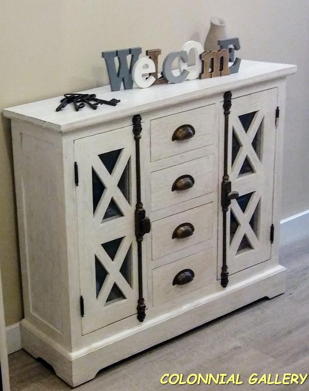 Consola Colonial rustic pintado Blanco