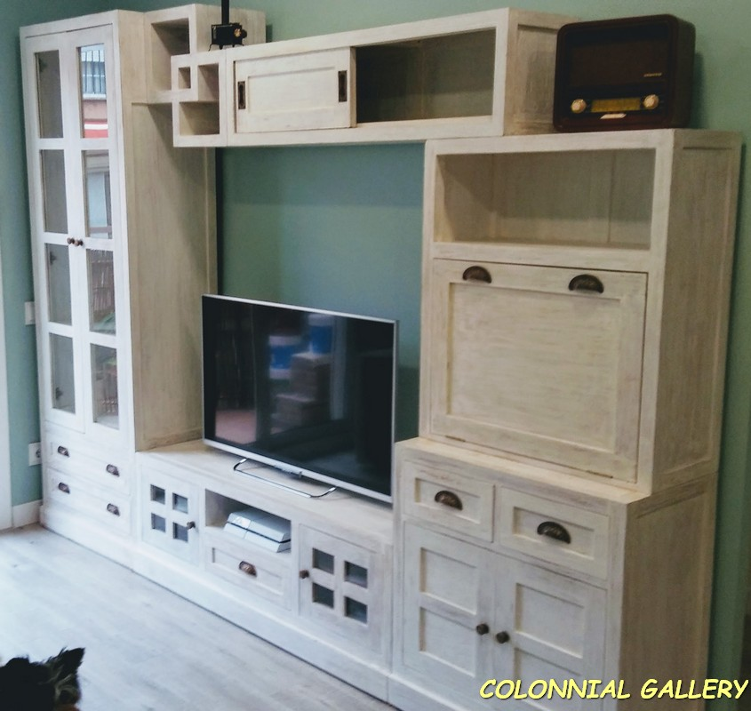 Salon Colonial Blanco madera Caoba
