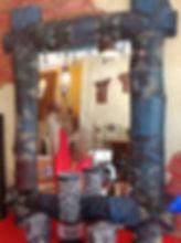 Espejo etnico rustico pintado