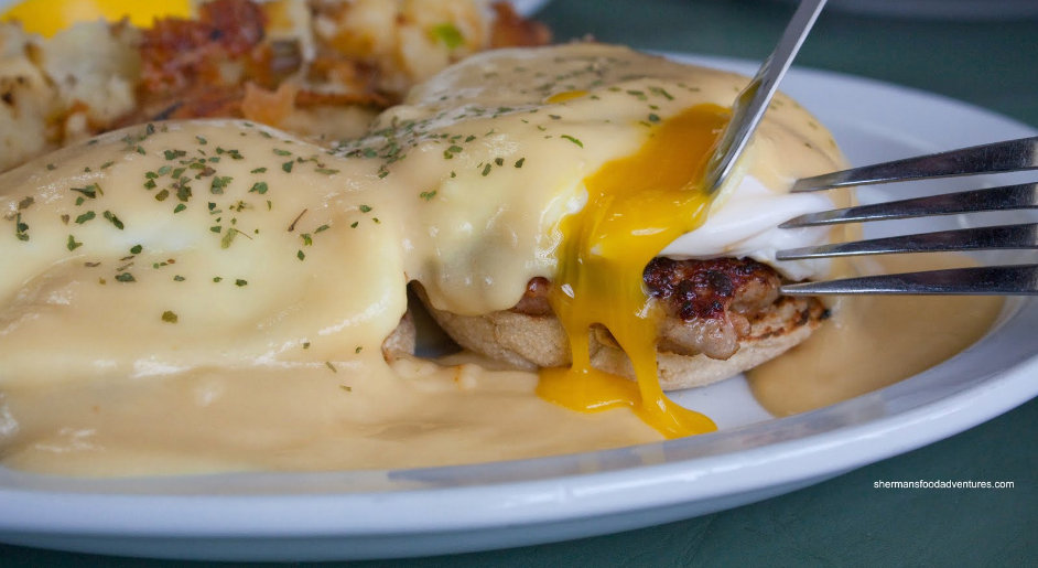 Delicious Eggs Benedict made from scratch