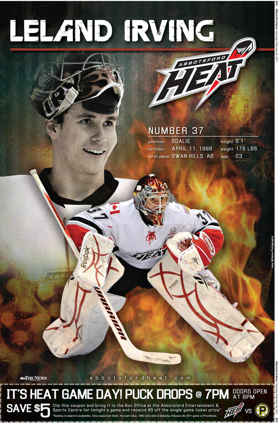 Abbotsford Heat Poster - Leland Irving
