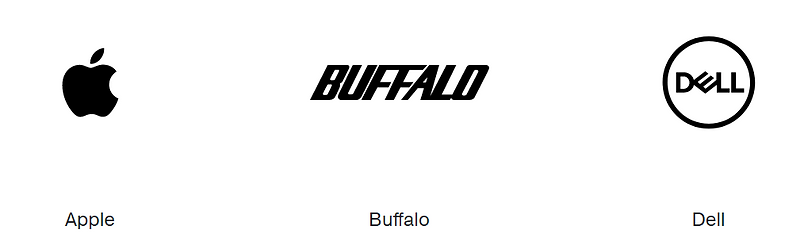 A collection of three logos showing Apple, Buffalo and Dell.